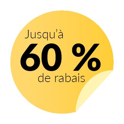 jusqu'à 60% de rabais